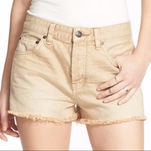 Free People Khaki Uptown Denim Shorts Size 31 NEW